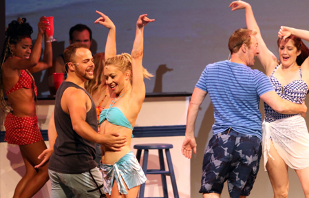 "Krista Leis and other cast members in ""Mamma Mia!"" (courtesy of the Capitol Theater)."