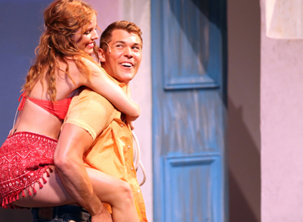 "AJ Bridel (Sophie) & Jonathan Gysbers (Sky) in ""Mamma Mia!"" (courtesy of the Capitol Theater)."