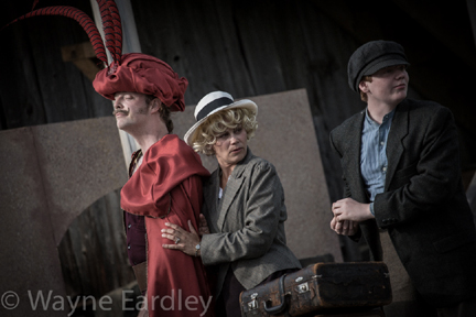 "Mac Fyfe, Monica Dottor, & Liam Davidson in ""The Hero of Hunter Street"" (photo by Wayne Eardley)."
