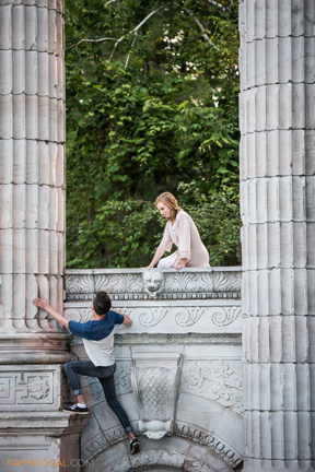 """Romeo & Juliet"" -- on the balcony (photo by Raph Nogal, courtesy of Guild Festival Theater)."