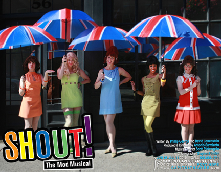 "Cara Hunter, Laura Laing, Alison J. Palmer, Amanda De Freitas, & Quinn Dooley in the Capitol Theater's production of ""Shout!"" (photo by Carmen Amini)."
