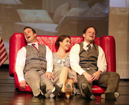 "Jay T. Schramek, Kate Blackburn, and Timothy Gledhill in ""Singin' in the Rain"" (courtesy of Capitol Theater)."
