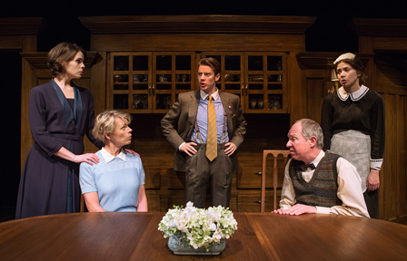 "Sarah Wilson, Brenda Robins, Jeff Lillico, Diego Matamoros, and Courtney Ch'ng Lancaster -- Five cast members (out of six) from ""The Dining Room"" (photo by Cylla von Tiedemann, courtesy of Soulpepper Theater)."