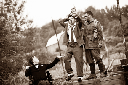 "Sean Towgood (as Johnny), Griffin Clark (as Billy), and other cast in ""Wounded Soldiers -- courtesy of 4th Line Theater"