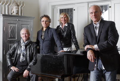 """Murray McLaughlan, Marc Jordan, Cindy Church, and Ian Thomas are """"Lunch at Allen's"""" (photo courtesy of the performers)."""
